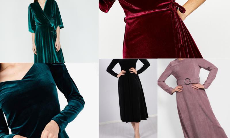 Yeni Sezon Kadife Elbise Modelleri